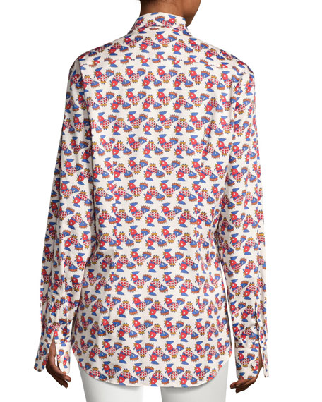 Galletti Printed Button-Down Blouse, White Pattern