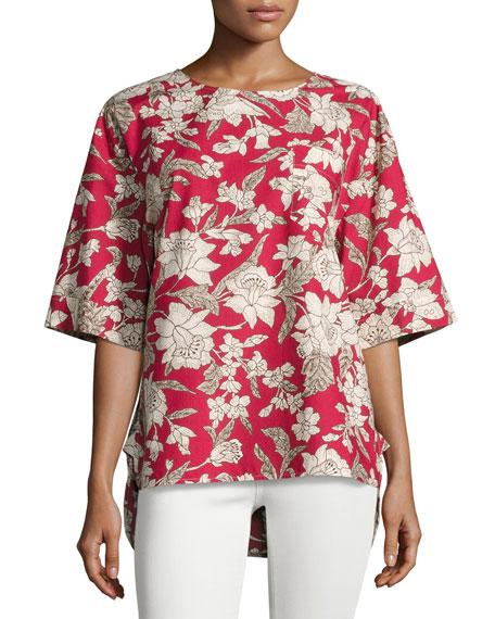 Lilim Half-Sleeve Cotton Top, Red Pattern