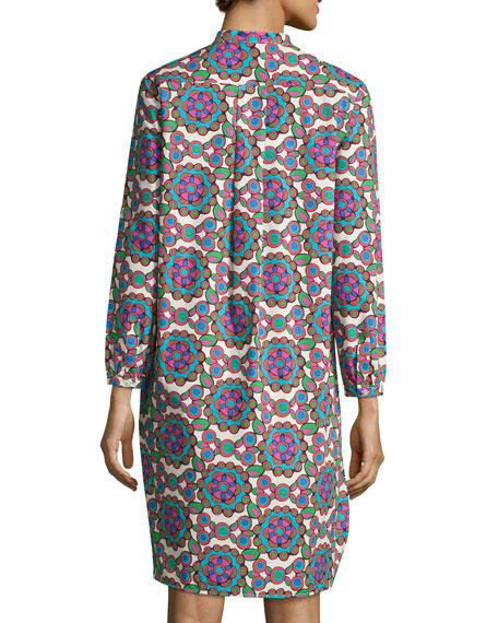 Kaleidoscope Cotton Shirtdress, Purple Pattern