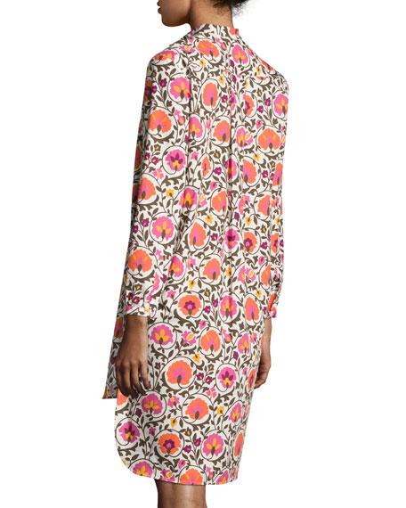 Narciso Cotton Shirtdress, Orange Pattern