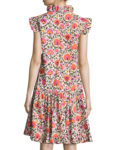 Narciso Cap-Sleeve Cotton Dress, Orange Pattern
