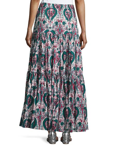 Liberty Printed Peasant Skirt, Green Pattern