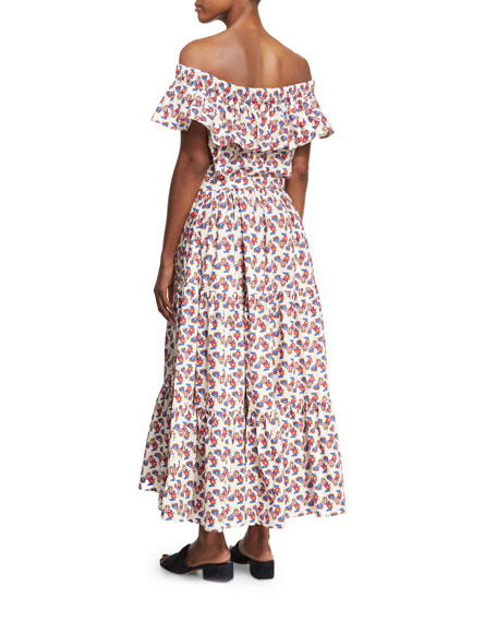 Galletti Printed Off-Shoulder Midi Dress, White Pattern