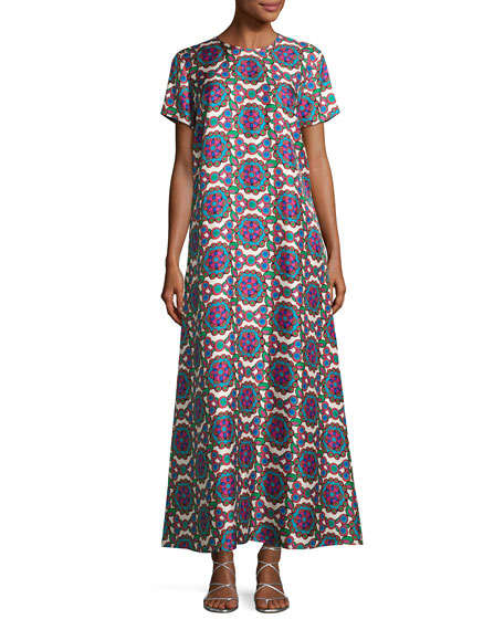 Kaleidoscope Short-Sleeve Maxi Dress, Purple Pattern