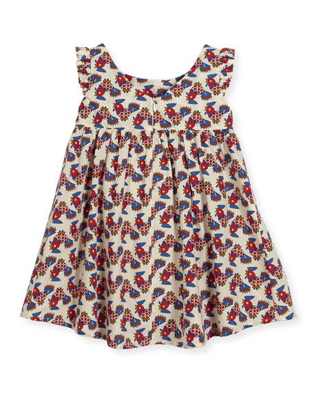Galletti Cap-Sleeve Dress, White Pattern, Size 4-8