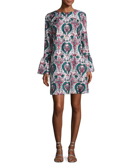 Liberty Long-Sleeve Shift Dress, Green Pattern