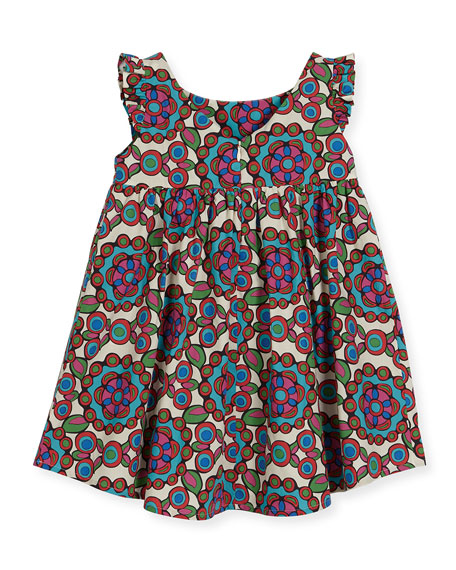 Kaleidoscope Cap-Sleeve Dress, Purple Pattern, Size 4-8