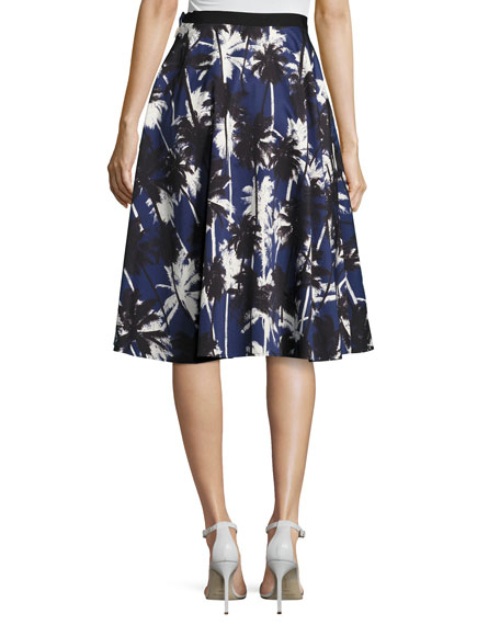 Pop Palm-Print Skirt, Blue Pattern