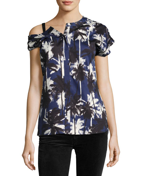 Asymmetric Palm-Print Blouse, Blue Pattern