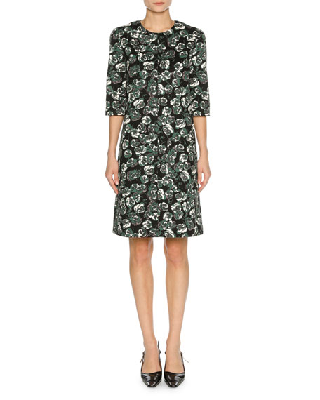 Floral-Print Elbow-Sleeve Dress, Green