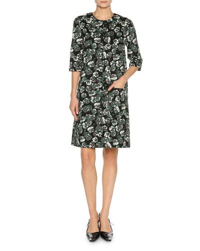 Floral-Print Elbow-Sleeve Dress, Green