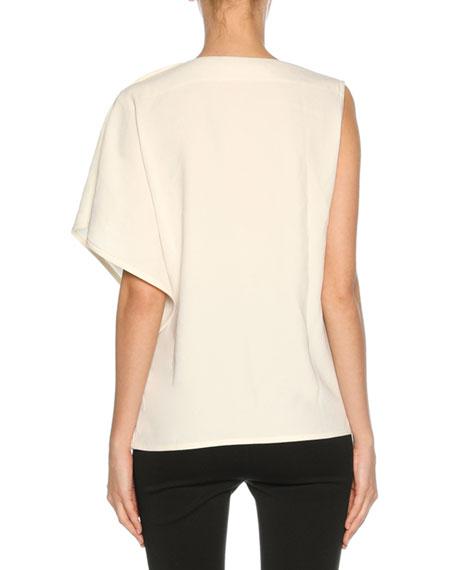 Woven Button-Shoulder Top, White