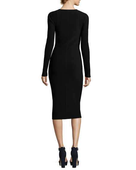 Long-Sleeve Ribbed Crewneck Dress