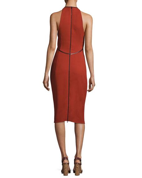 Sleeveless Leather-Tipped Sheath Dress, Orange/Purple