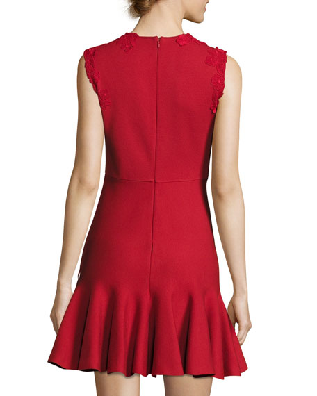 Sleeveless Lace-Trim Fluted Dress, Red