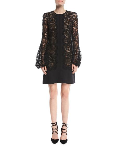 Long-Sleeve Lace-Trim Cocktail Dress