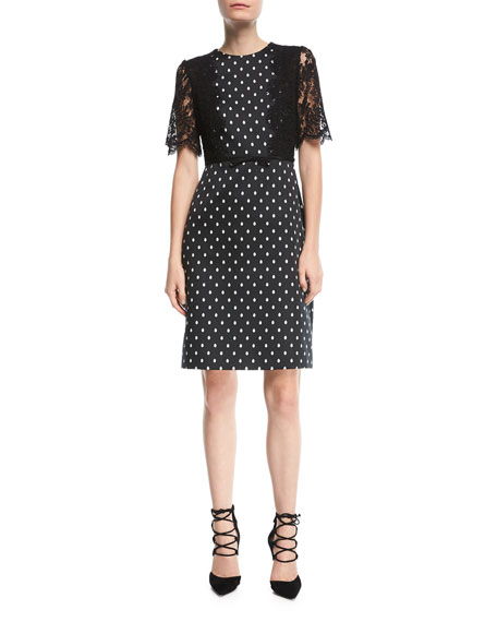 Polka Dot Lace-Sleeve Dress