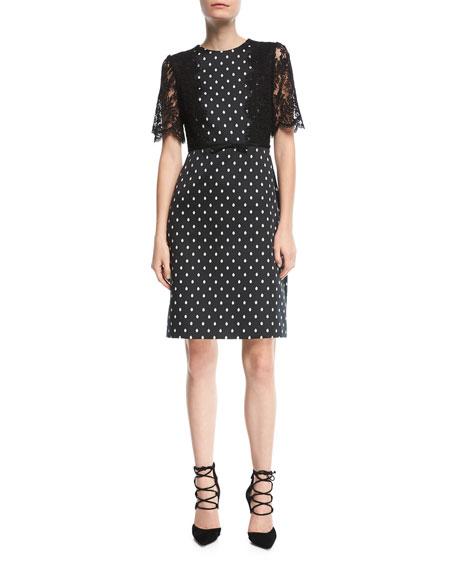 Polka Dot Lace-Sleeve Dress