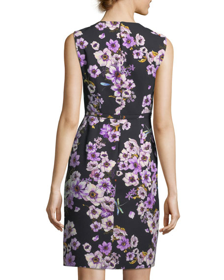 Sleeveless Anemone-Print Dress