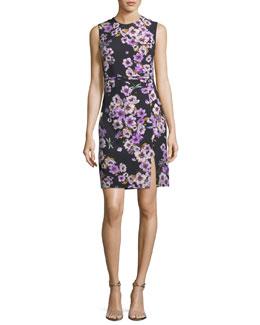 Sleeveless Anemone-Print Dress