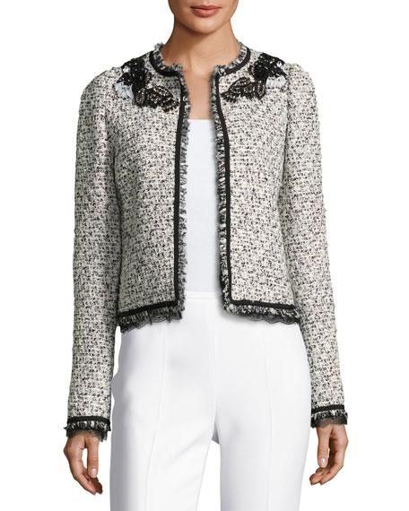 Embellished Fringe Tweed Jacket, White/Multi