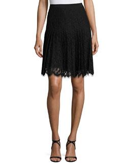 Scalloped Lace Skirt, Black