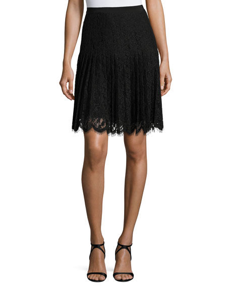 Scalloped Lace Skirt, Black