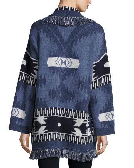 Geometric Cashmere Robe Sweater, Blue Pattern