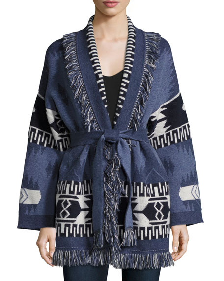 Geometric Cashmere Robe Sweater, Blue Pattern