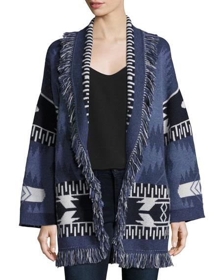 Alanui Geometric Cashmere Robe Sweater, Blue Pattern