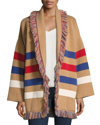 Fringed Colorblock Cashmere Robe Sweater, Brown Pattern