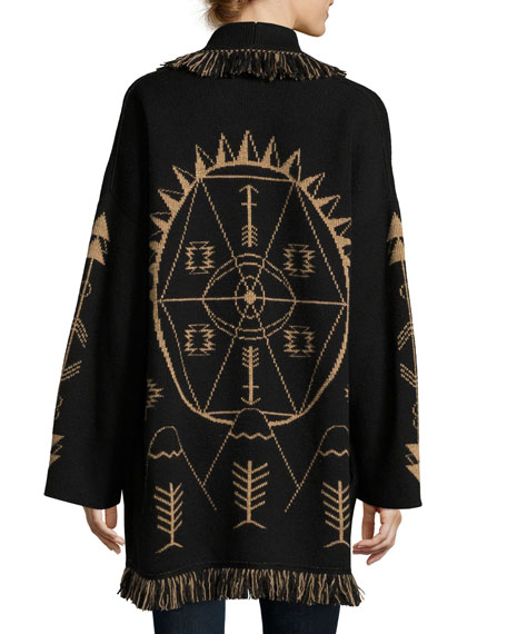 Geometric Robe Sweater, Black Pattern