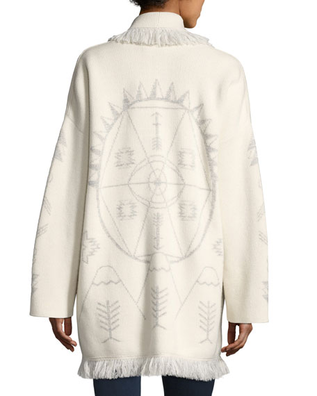 Alanui Knit Cashmere-Blend Robe Sweater, White Pattern