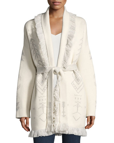 Knit Cashmere-Blend Robe Sweater, White Pattern