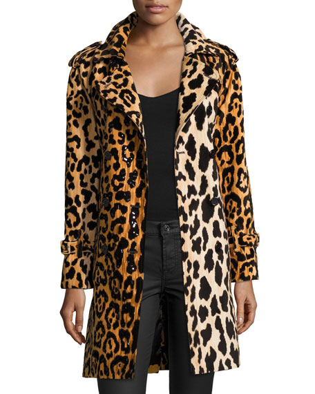 Leopard-Print Velvet Trenchcoat, Yellow/Black