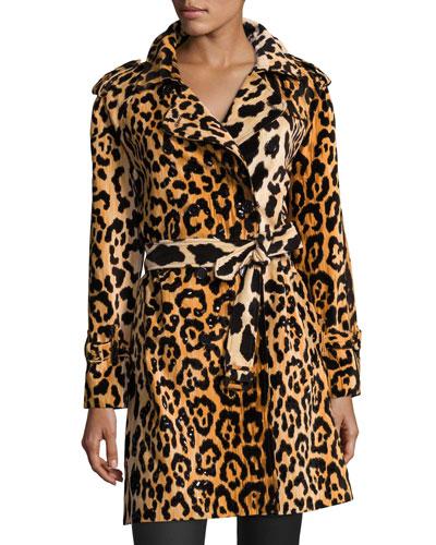 Leopard-Print Velvet Trenchcoat, Yellow/Black