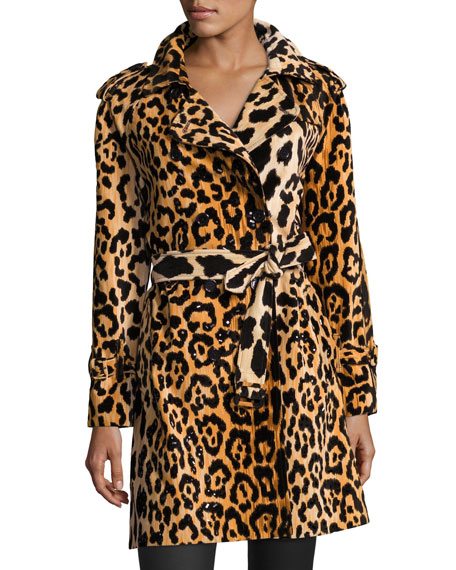 Libertine Leopard-Print Velvet Trenchcoat, Yellow/Black
