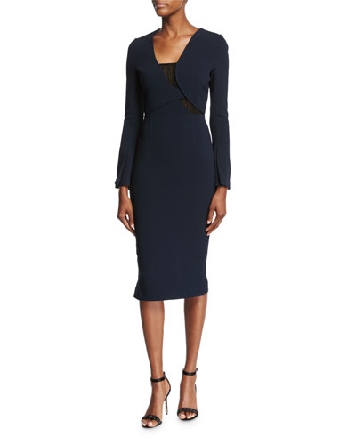Ormond Long-Sleeve Fitted Dress, Navy