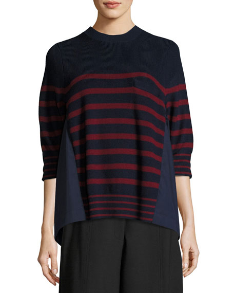 Striped Crewneck Pullover Sweater, Red Pattern