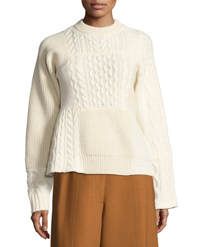 Patchwork Cable-Knit Sweater, White