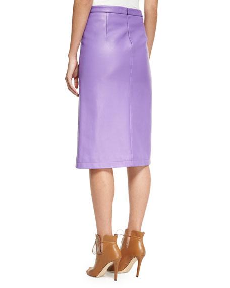 Leather Slit-Front Pencil Skirt, Purple