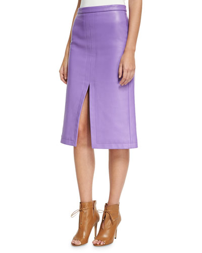 Leather Slit-Front Pencil Skirt, Purple