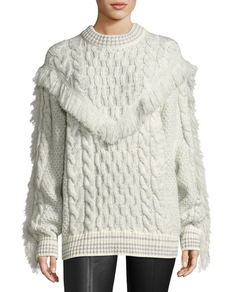 Fringed Cable-Knit Cashmere Sweater, White