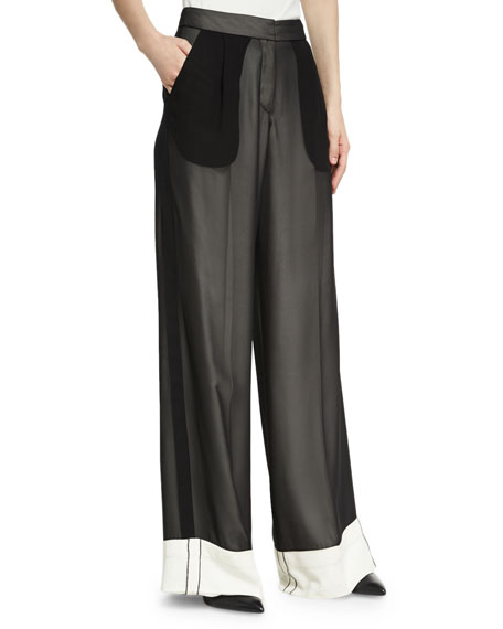 Double-Layer Chiffon Wide-Leg Tuxedo Pants