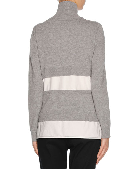 Knit Combo Turtleneck Sweater, Gray