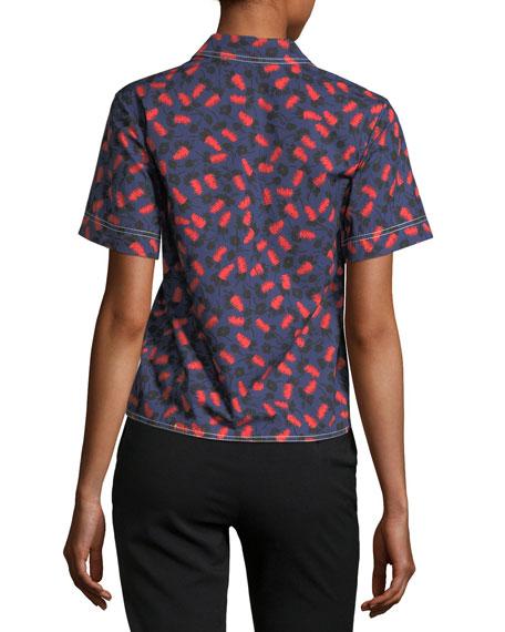 Poppy-Print Short-Sleeve Blouse