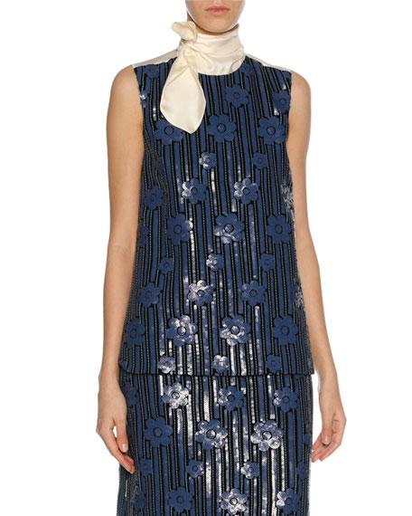 Marni Sequined Flowerbed Tie-Neck Top, Blue