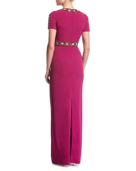 Short-Sleeve Beaded Cutout Gown, Bright Plum