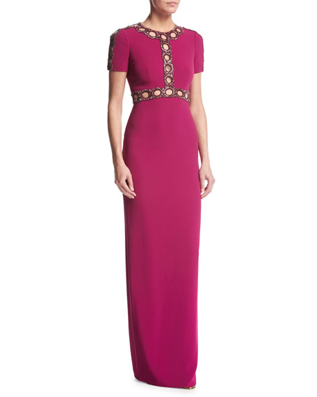 Short-Sleeve Beaded Cutout Gown