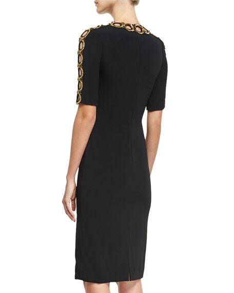 Half-Sleeve Beaded Cutout Cocktail Dress